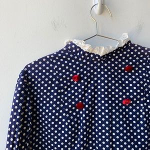 Dresses & Skirts - Vintage Polka Dot Dress w/ Lace